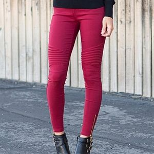Burgundy Moto Jeggings Leggings NWT